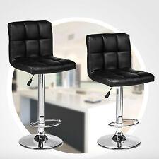 Set of 2 Bar Stools PU Leather Modern Hydraulic Swivel Dinning Chairs Black