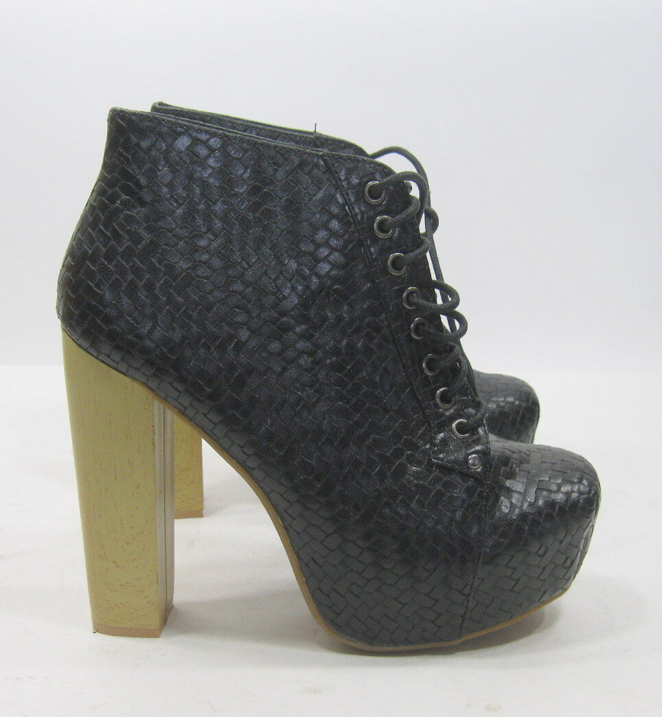 Black 5.5  High Block Heel Lace Up Round Toe Sexy Ankle Boots Size 9