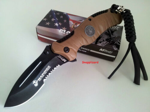 "US Marines MTech M1020BT REAPER 4.75"" Folding Pocket Knife Combo Edge"