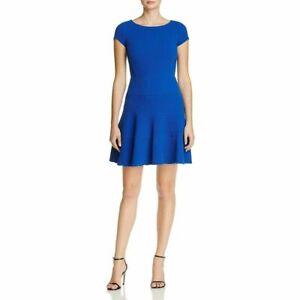 Rebecca-Taylor-Cobalt-Blue-Textured-Knit-Fit-amp-Flare-Cap-Sleeve-Dress-SZ-2-XS
