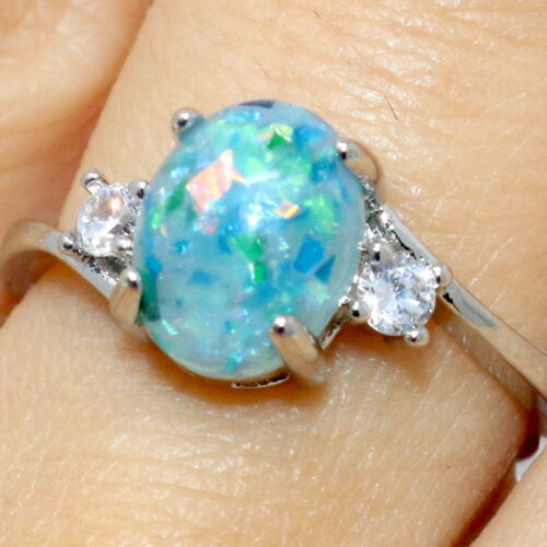 Details about  /Oval Green Opal Ring Women Jewelry Gift 14K White Gold Plated Size 6 to 9