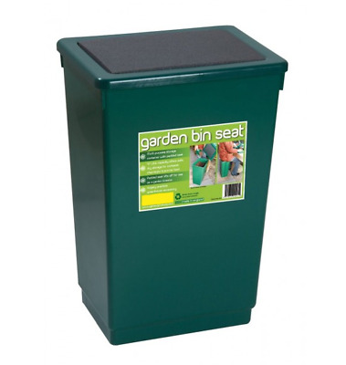 Large 47L Green Plastic Garden Bin Seat Outdoor Storage Container Box Dust Bin