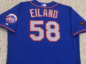 6b143c886 EILAND size 48  58 2018 New York Mets game used jersey road blue MLB ...