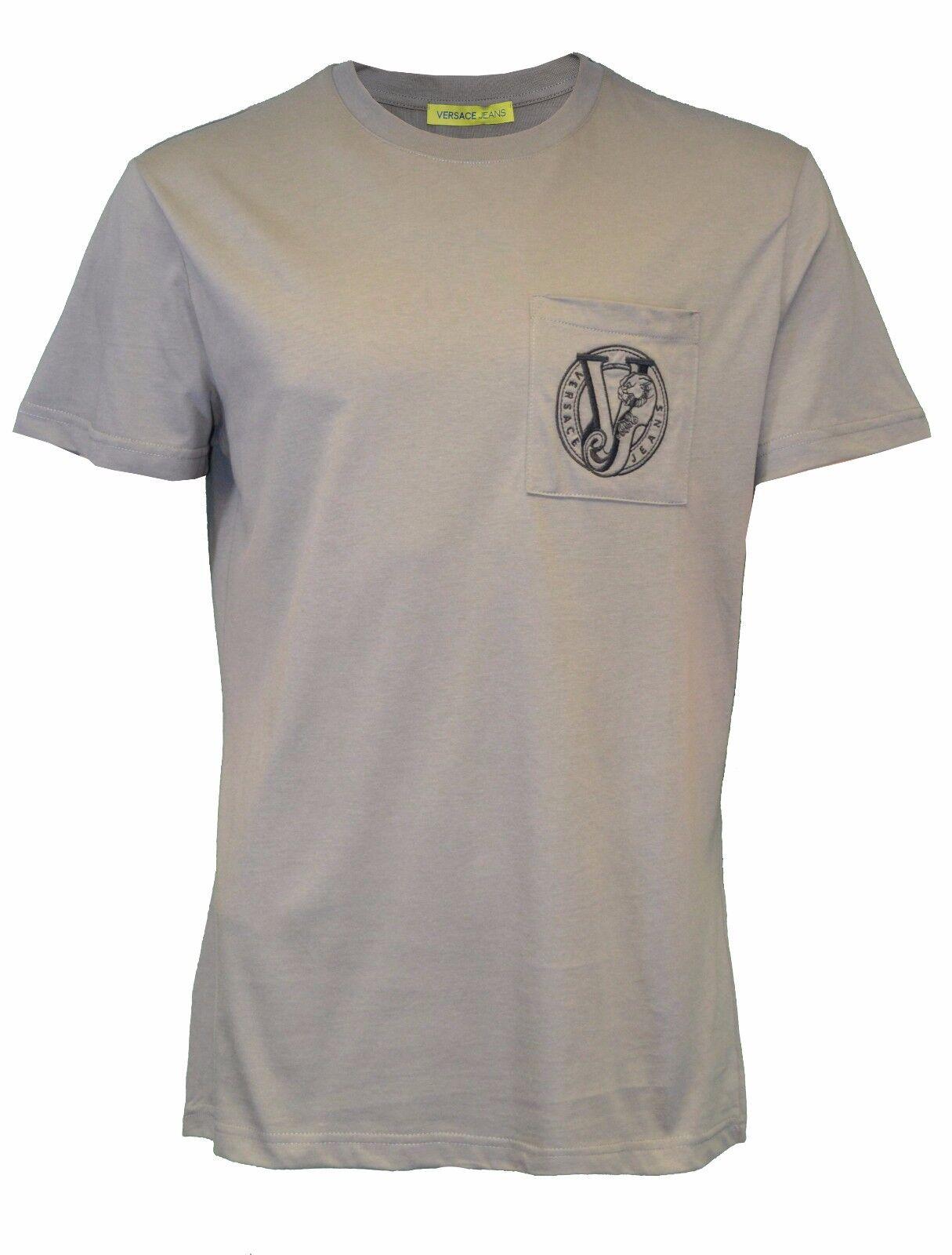 BNWT Versace Jeans grigio TIGER VJ logo ricamato sulla tasca T-SHIRT MAGLIETTA RARA