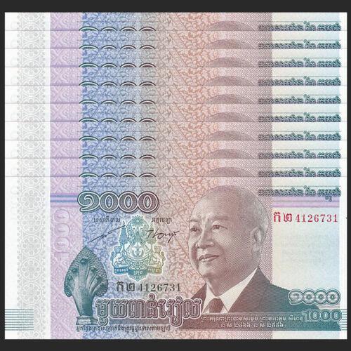P-63 UNC 2012 Lot 10 PCS COMM 2013 Cambodia 1000 Riels