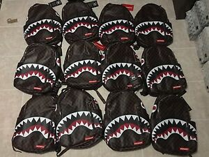 20c90ea96209 Image is loading Sprayground-Sharks-In-Paris-Brown-White-Red-9100B866NSZ-