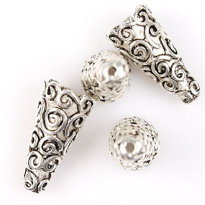 25pcs 112820 Antique Silver Tone Carved Circles Cone Charms Alloy Spacer Beads