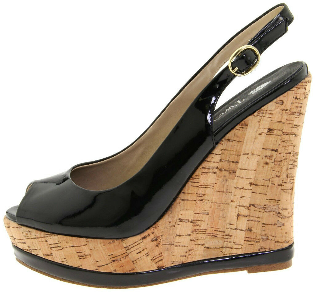TWO LIPS WEDGE PLATFORM SANDAL WITH CORK  ~ BLACK