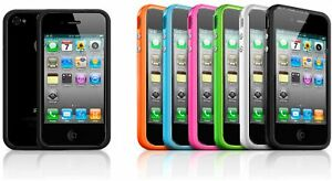 Bumper-Case-with-Chrome-Buttons-for-Apple-Iphone-4-4S-4G-4th-4GS-Black