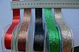 Glitter-Ribbon-25mm-wide-3-Metres-other-Lengths-5-Colour-Choice-GreenTara-LL6