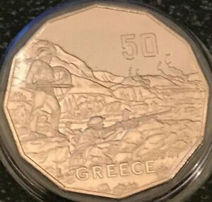 2015-50-Cents-WWII-GREECE-CAMPAIGN-Specimen-UNC-in-2x2-Coin-Holder