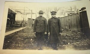 Antique-American-Military-World-War-I-Soldiers-in-Uniforms-Snapshot-Photo-US