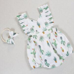 Newborn-Infant-Baby-Girl-Cactus-Romper-Jumpsuit-Bodysuit-Headband-Clothes-Outfit