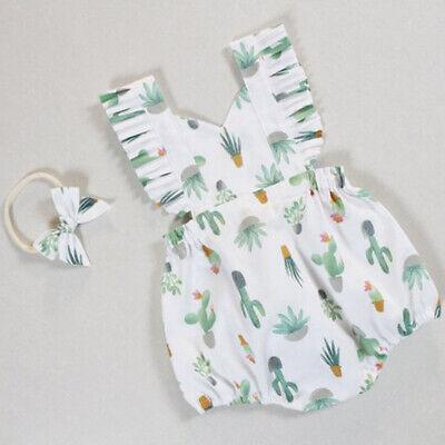 Newborn Infant Baby Girl Cactus Romper Jumpsuit Bodysuit Headband Outfit Clothes