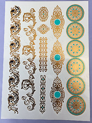 fashionable Temporary Metallic Tattoo Gold Silver Black Flash Tattoos necklace