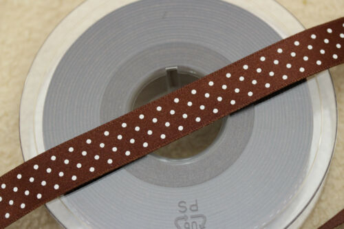 5932 #25 CHOCOLATE BROWN Berisfords Satin Polka Micro Dot Spotty Ribbon 15mm