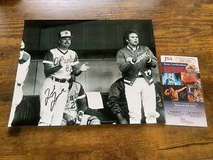 8x10 MLB Photo 2 Autographed by Ted Turner Atlanta Braves JSA COA #HH75691 B&W