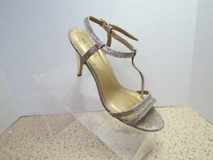 Call-It-Spring-Womens-Ankle-Strap-Silver-Glitter-Open-Toe-Heeled-Shoes-Size-7-5