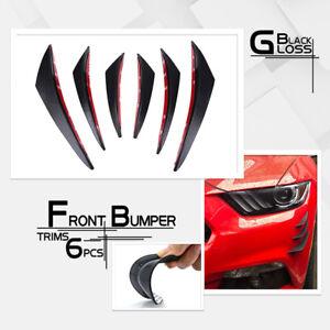 6x-Gloss-black-Car-Front-Bumper-Lip-Splitter-Fins-Body-Spoiler-Canards-Valence