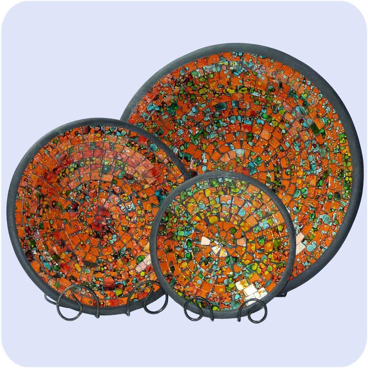 Mosaikschale 3-Set Tonschale Glasschale Schale Mosaik Kunst Glas Deko rund groß