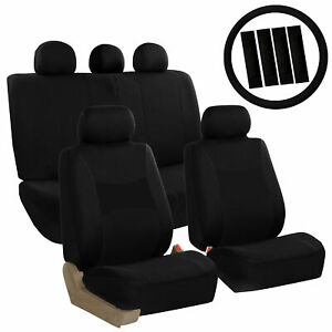 FH Group Auto Seat Covers For Car Truck SUV Van w/ Steering Cover Belt Pad Black