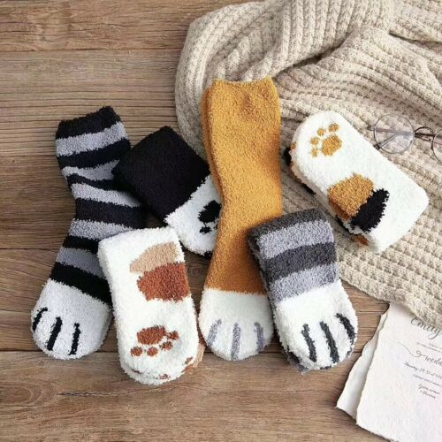 6 Pairs of Warm Winter Socks for Girls Cat Paws Cute Thick Warm Sleep Floor S~M