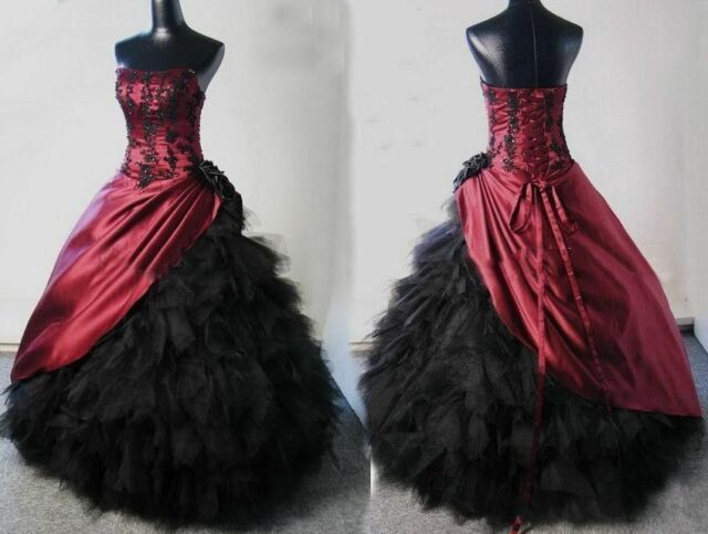 Vintage Burgundy Black Applique Prom Pageant Formal Gown Gothic ...