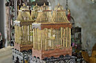Wooden Brass Bird Cage House Vaulted Cathedral Steeple Architectural