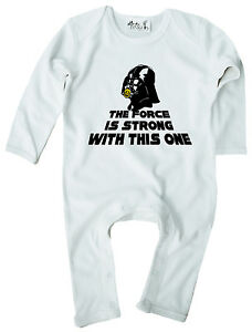 """Star Wars Baby T-Shirt /""""The Force is Strong/"""" Funny Tee Darth Vader Clothes"""