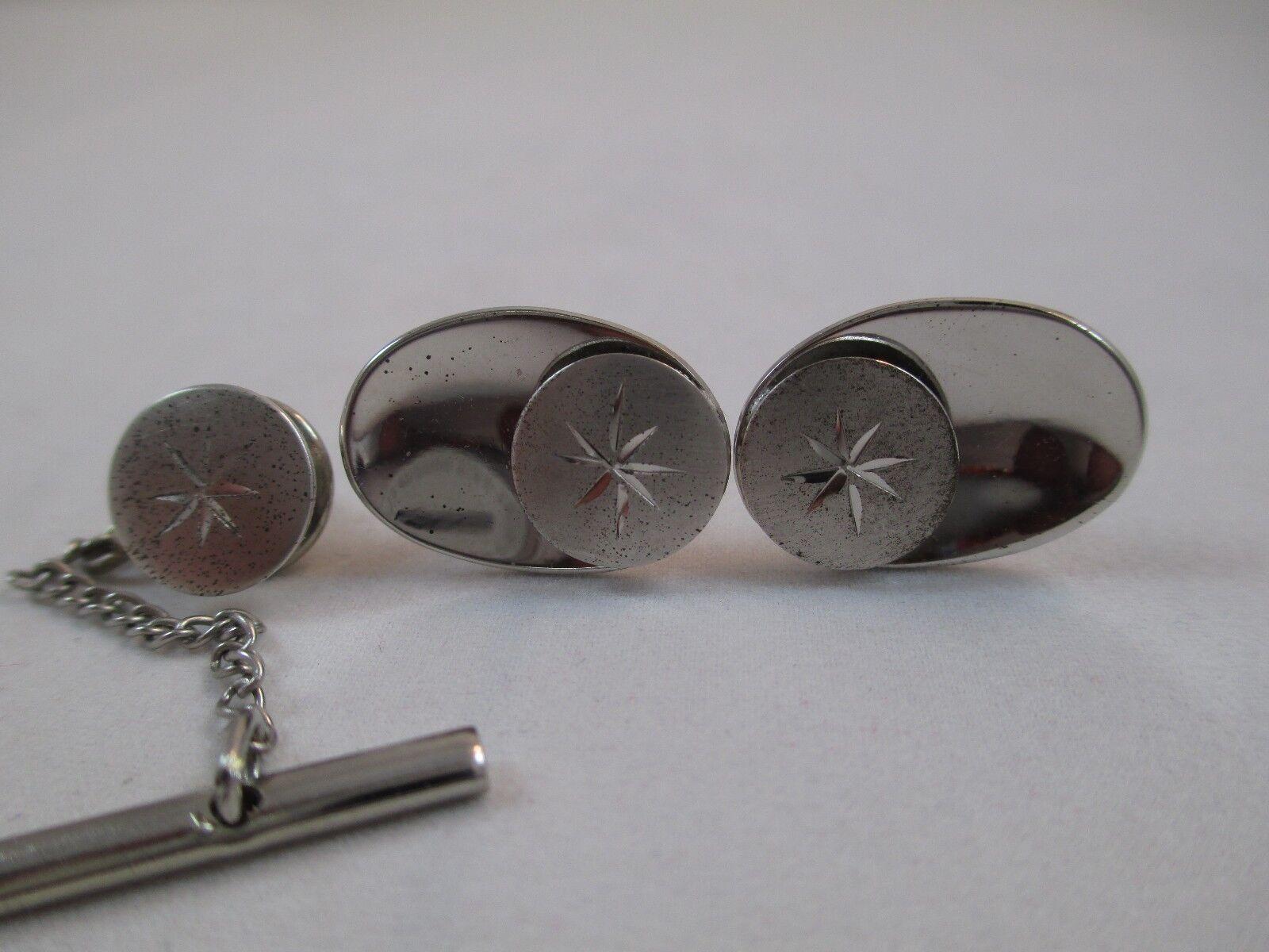 Vintage Silver and Black Hematite Cufflinks Cuff Links for Men Shiny Polished Signed Hickok USA Cuff Links Unisex Modernist Cufflinks