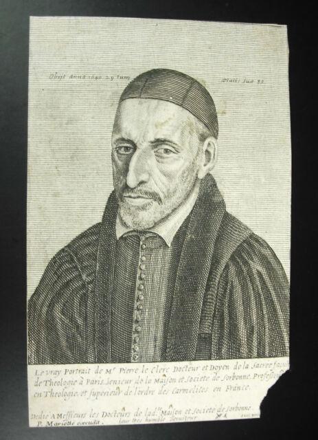 C1700 Xvii Stone Mariette Exudit Portrait Of Theologian Stone Leclerc Sorbonne