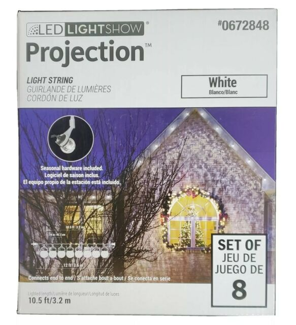 Gemmy Lightshow Projection Swirling White Blanco LED Lights String Christmas