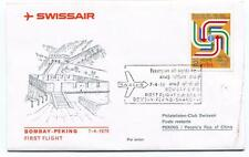 FFC 1975 Swissair Club First Flight Bombay Peking People's Rep. China