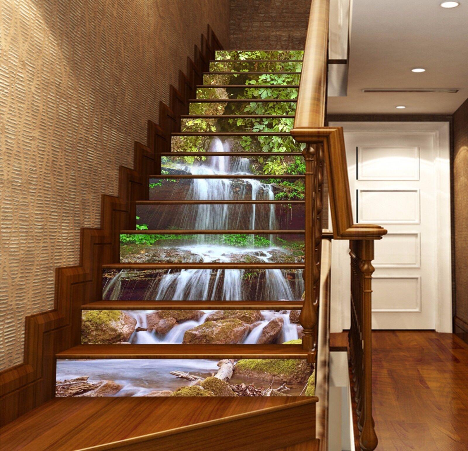 3D Leaves Stream 528 Risers Decoration Photo Mural Vinyl Decal Wallpaper CA