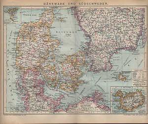 Skandinavien Europa Landkarte Dänemark Schleswig Holstein Kattegat Jylland Bornholm 1890 Original