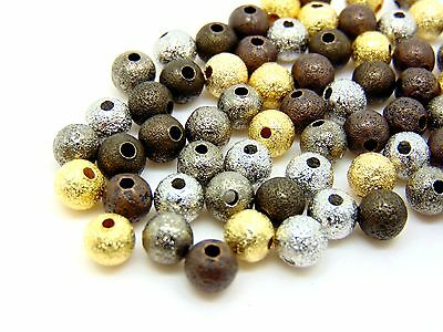 70pcs 4mm gold plated stardust beads GP ball spacer lead//nickel safe findings