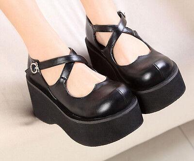 Womens Creeper Mary Jane Platform Lolita Wedge Heel Collegiate Buckle Pump Shoes