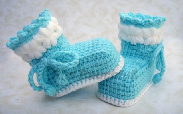 Babyschuhe Socken Schühchen Handmade Diy Neu Türkis Blau Tunesisch