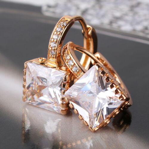 18K Gold Filled Princess Blanc Topaz Design Brillant bon CALIN Boucle d/'oreille