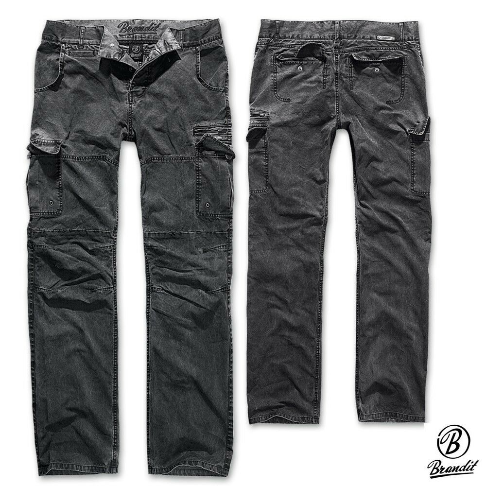 Brandit Hose Rocky Star Denim Cargo Hose Pants Trouser Worker Jeans washed NEU