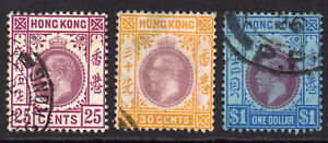 Hong Kong 1921-37 3  Used Stamps 25 cents 30 cents & 1 Dollar  (621)