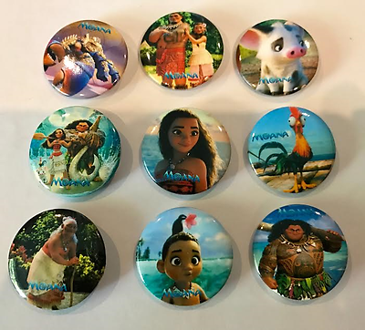 Loot Bag Fillers NEW Lot of 9 Moana Badges 3cms diameter Party Favours