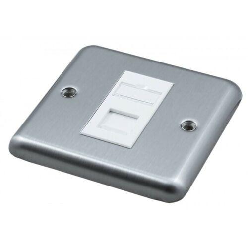 Brush Steel Faceplate Loaded Cat6 1,2 /& 4  Euro Module Single//Double Backbox Lot