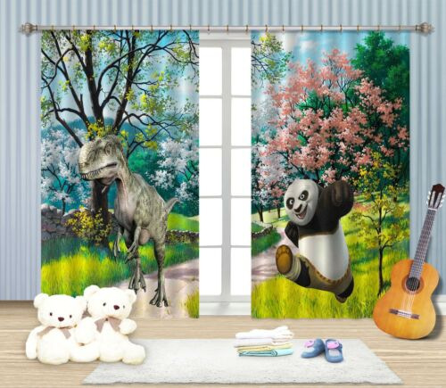 3D Dinosaur 307 Blockout Photo Curtain Printing Curtains Drapes Fabric Window AU