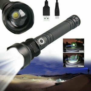 Tactical-Zoomable-Flashlight-XHP70-Powerful-LED-Hunting-Torch-USB-Rechargeable