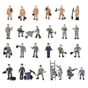 25 juncos pintadas figuras 1:87 personajes-ferroviario miniaturas con cubos y