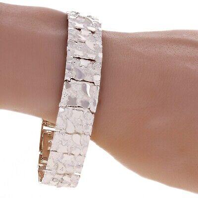 """925 Sterling Silver Adjustable Solid Nugget Style Bracelet 7.75/"""" 15mm 32 grams"""