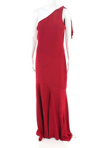 Parker Womens Rosewood Sara One Shoulder A-Line Gown Red Size 10 10946396