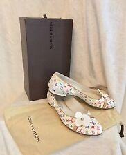 Louis Vuitton White Multicolor Resin Flower BALLERINA FLAT Shoes 38, 7.5