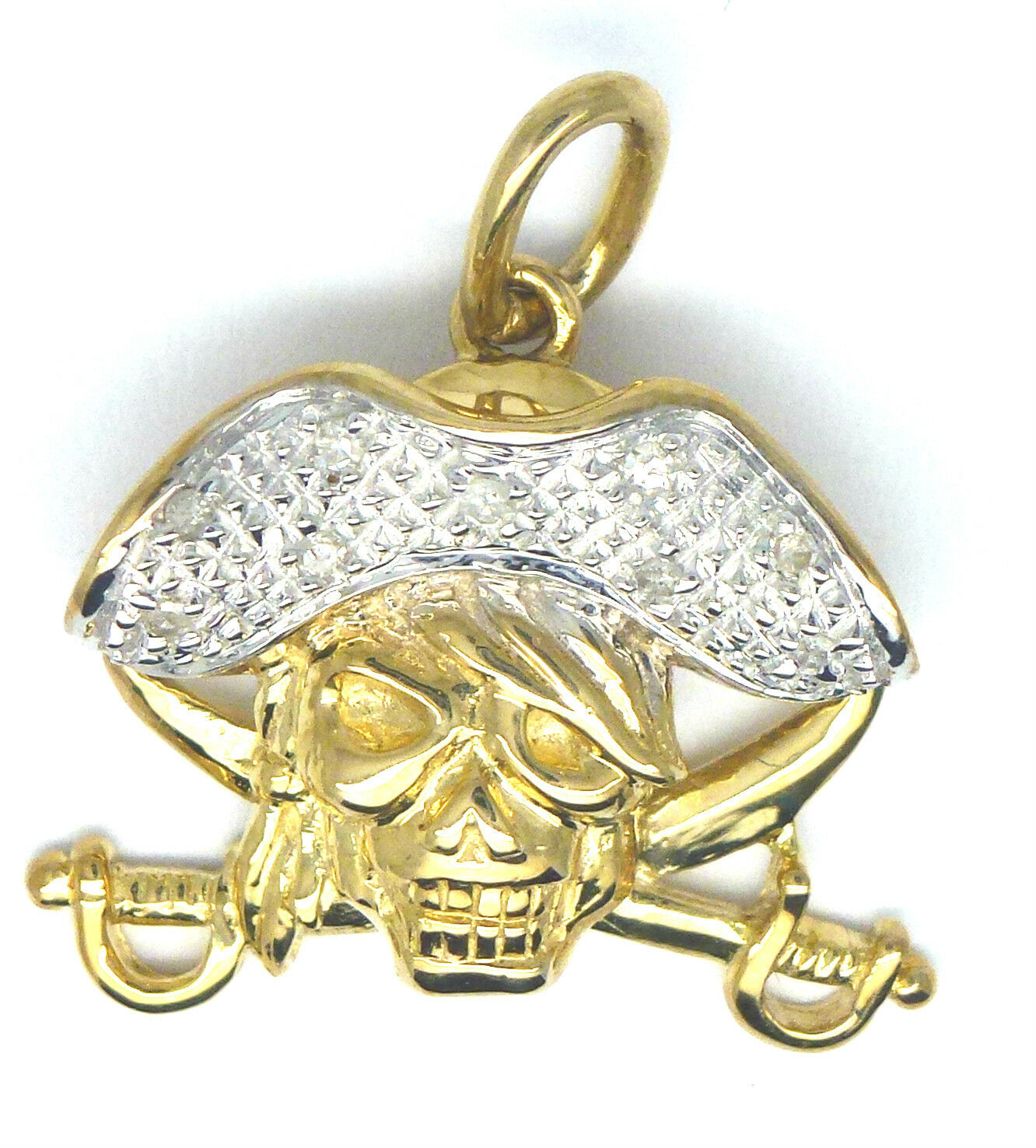 9ct Yellow gold Diamond Set Pirate Skull and Sword Pendant                  365G